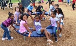 Students in a playground