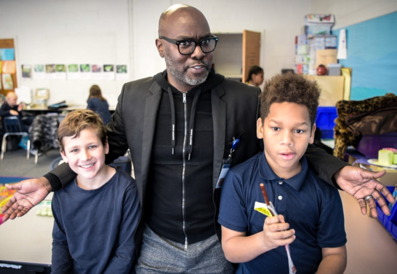 superintendent subs in 4th grade classroom