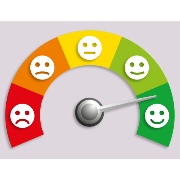 gauge measuring degrees of happiness with smiley faces