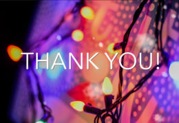 """holiday lights with words """"thank you"""""""