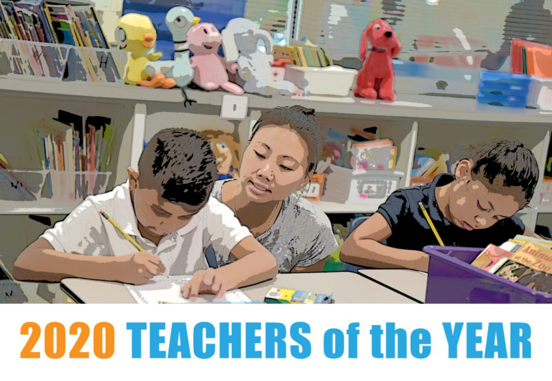 Teacher looking over shoulder of students, text says 2020 Teachers of the Year
