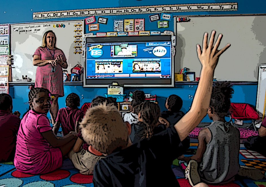 abstract image of teacher with children in classroom with child's hand raised